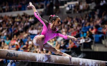 Shania Adams wins bronze on beam